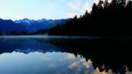 Lake Matheson Panorama at Sunrise, New Zealand video