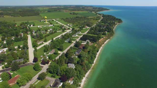 Lake Michigan shoreline, aerial view, Algoma Wisconsin video
