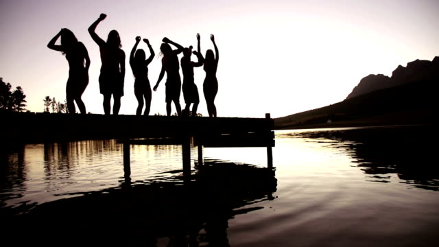Lake party on lake jetty in sunset video