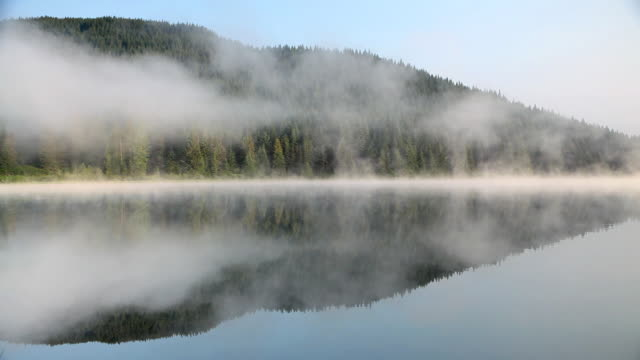 HD lake reflection with fog video