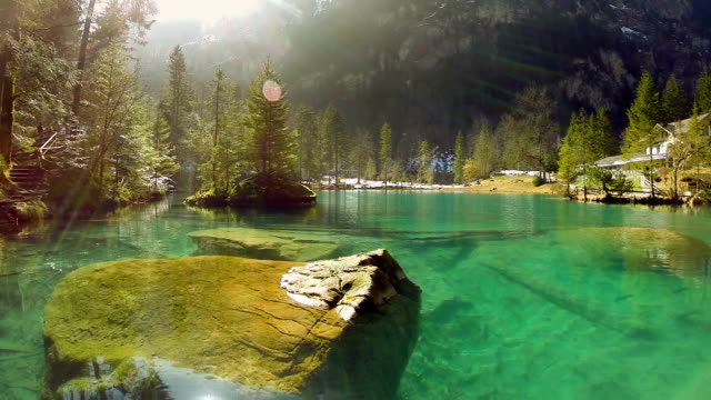 lake resort pond turquoise water nature background aerial view fly over video