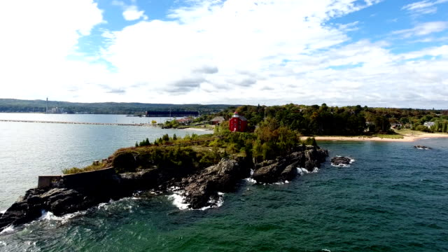 Lake Superior Light house in Marquette video