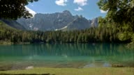 LD Lake surrounded by spruce trees and the mountains video