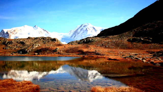 lake under majestic montain video