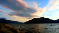 Lake Wakatipu at Sunset, Queenstown, New Zealand video