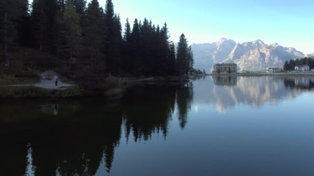 AERIAL Lake With Mountain In Background video