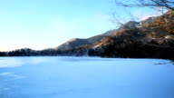 Lake Yuno (Yunoko) in winter, (timelapse) video