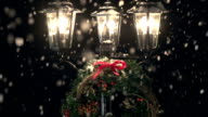 HD CRANE: Lamp post in the Snow with Christmas Wreath video