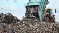 landfill with garbage trucks unloading junk video