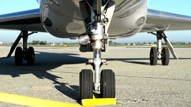 Landing gear of private airplane video