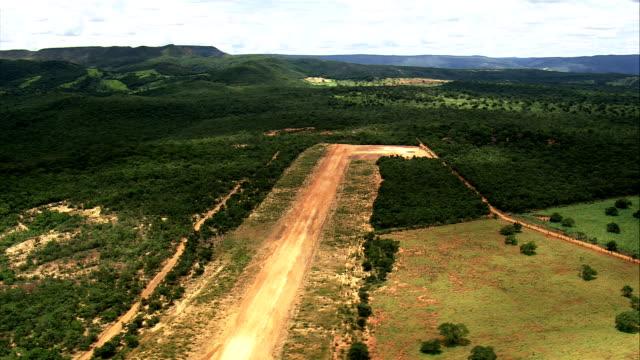 Landing On Small Airstrip, Minas Gerais State  - Aerial View - Minas Gerais, Lassance, Brazil video