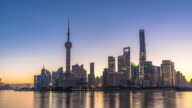 landmark dongfang mingzhu tower and modern buildings in shanghai at sunrise. timelapse hyperlapse video
