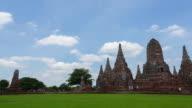 Landmark Old Temple wat Chaiwatthanaram of Ayutthaya Province( Ayutthaya Historical Park )Asia Thailand, Time lapse video