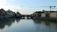Landmark Ponte Vecchio on the river Arno in Florence, Italy. video