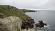 Lands End coast from Sennen Cove Cornwall England UK video