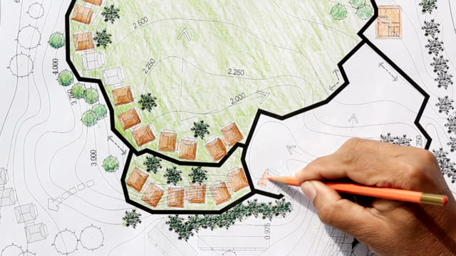Landscape Architect Designing on site analysis plan video