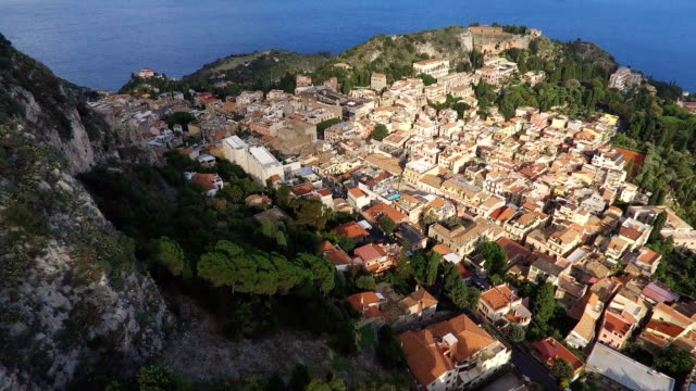 Landscape By Village Taormina With Old Houses, Italy video