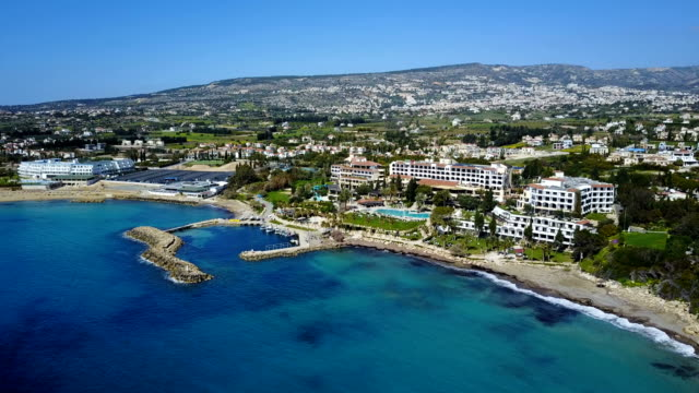 Landscape of a transparent clear blue Mediterranean Sea. The island of Cyprus. Resort. video