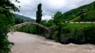 Landscape of fast river over Bridge of Queen Tamara in Georgia video
