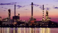 Landscape of oil refinery factory (time lapse ) video