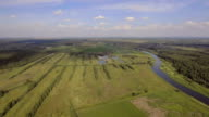 Landscape of the field, river.Aerial View video