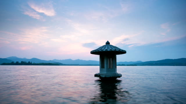 landscape of west lake with sunset in hangzhou,time lapse video