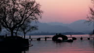 landscape of west lake with sunset,time lapse video