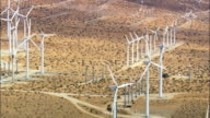 Landscape Of Windfarms  - Aerial View - California, Riverside County, United States video