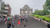 Landscape view of St. Paul Cathedral Ruins with tourists in Macau (Macao) video