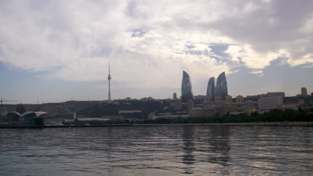 Landscape view of the embankment of Baku, Azerbaijan, the Caspian Sea, skyscrapers and flaming towers video