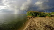 Landscape with cement pier and buoys in Curonian Lagoon video