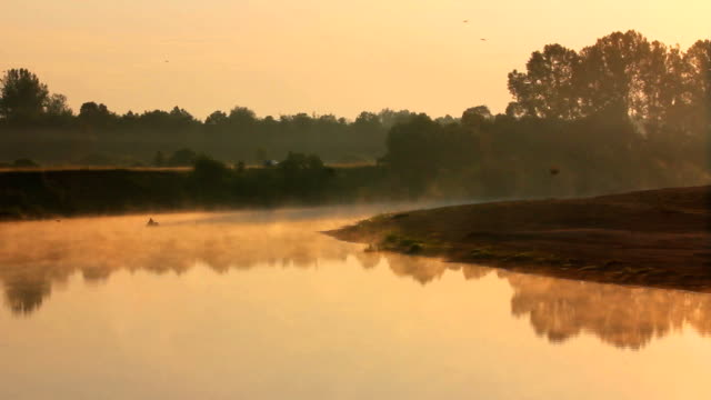 landscape with fishing at dawn video