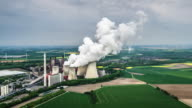AERIAL: Landscape with Power Station - Germany video