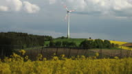 Landscape with Rape Field and Wind Turbine video