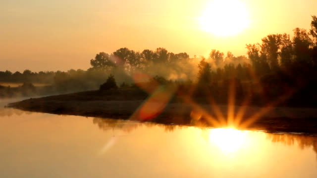 landscape with sunrise over river video