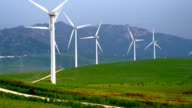 Landscape with wind turbines video