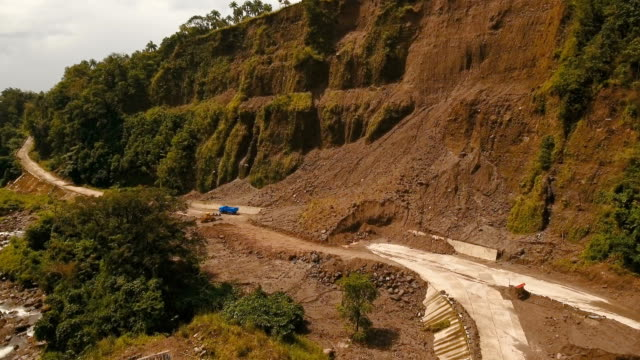 Landslide on the road in the mountains.Camiguin island Philippines video