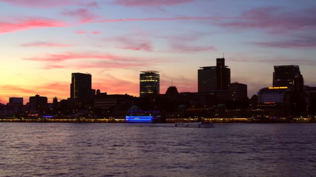 Landungsbrücken by sunset in Hamburg video