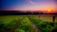 CRANE UP: Lane in Meadow Sunrise video