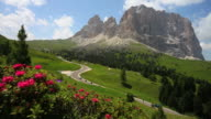 HD Langkofel mountain in the Dolomites tracking shot video