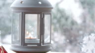 Lantern By The Window While Snowing video