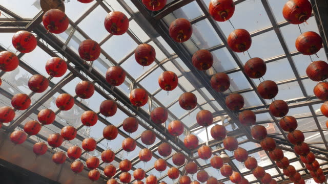 Lanterns decorated in Taiwanese temple video