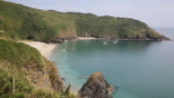 Lantic Bay Cornwall England uk secluded cove with blue sea video