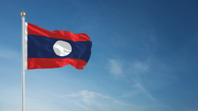 4K Laos Flag - Loopable video