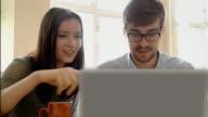 Laptop couple, discussion. video