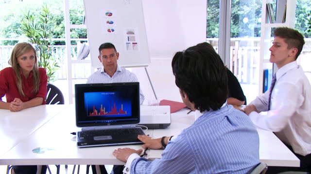 Laptop presentation in boardroom office business scene video