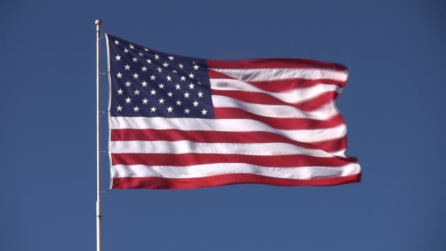 large american flag in wind video