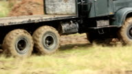 Large army pick up truck driving video