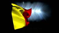 Large belgium national flag waving video