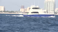 Large Blue Boat Passing in Front of Skyline video